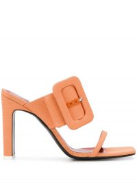 THE ATTICO buckled slip-on sandals in coral orange