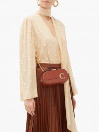 CHLOÉ The C mini dark brown-leather cross-body bag