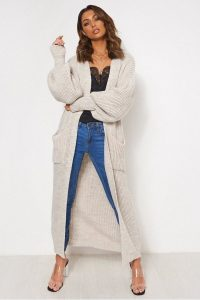 THE FASHION BIBLE BEIGE OVERSIZED BALLOON SLEEVE LONG KNITTED MAXI CARDIGAN – longline cardigans