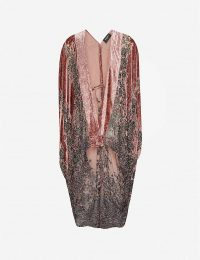 THE KOOPLES Floral-print asymmetric velvet cape in PIN03 ~ luxe evening capes