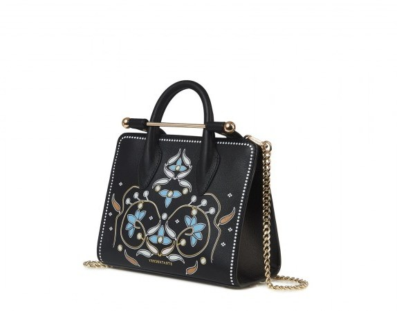 THE STRATHBERRY NANO TOTE PEARL PRINT BLACK ~ small printed handbags - flipped