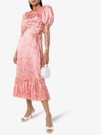 The Vampire's Wife Honey Trap Floral Silk Dress in Pink