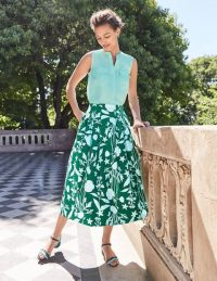 BODEN Theodora Pleated Skirt Forest, Garden Charm / green summer box pleat skirts