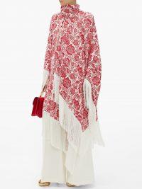 ERDEM Thera floral-jacquard wrap cape – matches fashion