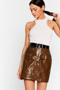 NASTY GAL This isn't Working Faux Leather Mini Skirt in Chocolate