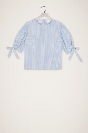 WAREHOUSE TIE SLEEVE STRIPED TOP BLUE STRIPE
