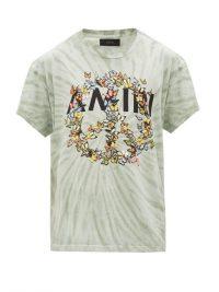 AMIRI Tie-dye logo-print cotton T-shirt in green