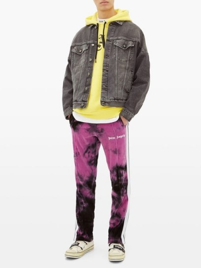PALM ANGELS Tie-dyed cotton-blend velour track pants