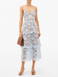 SELF-PORTRAIT Tiered floral-lace midi dress in light blue