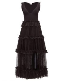 ALEXANDER MCQUEEN Tiered ribbed-knit dress in black