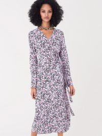 Diane von Furstenberg Tilly Silk Crepe De Chine Midi Wrap in Seeds Small Bloom