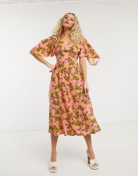Topshop IDOL daisy print midi dress in pink / floaty dresses
