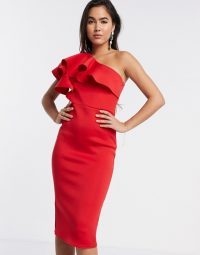True Violet frill one shoulder midaxi bodycon dress in red ~ asymmetrical necklines