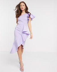 True Violet one shoulder ruffle midi dress in lilac – statement ruffles