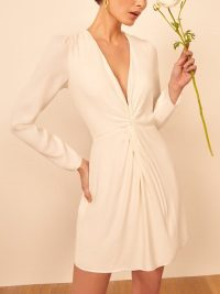 Reformation Tulips Dress in Ivory | twist front dresses