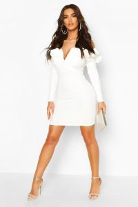 V Front Ruffle Bardot Mini Dress – boohoo