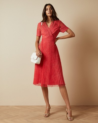 TED BAKER SONYYIA V neck lace midi dress – coral dresses