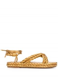 VALENTINO Valentino Garavani The Rope sandals in gold / ankle wrap flats