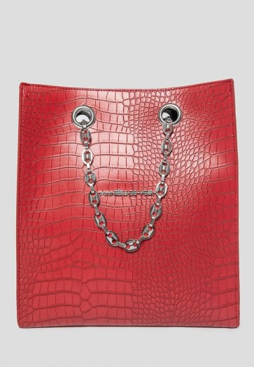 Manière De Voir VEGAN LEATHER CROC SHOPPER RED