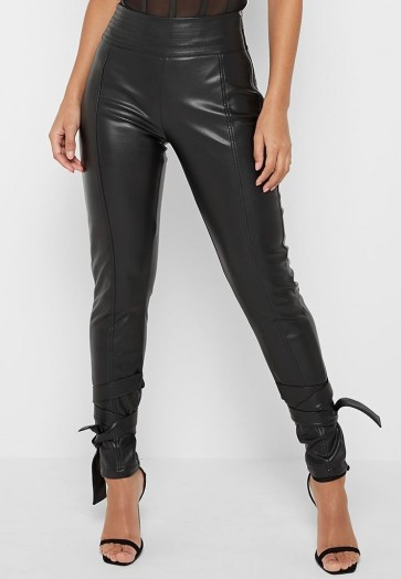 Manière De Voir VEGAN LEATHER TROUSERS WITH ANKLE TIES BLACK