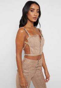Manière De Voir VEGAN SUEDE CROP TOP BEIGE – strappy going out tops