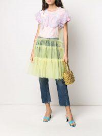 VIKTOR & ROLF ruffle-trimmed tulle dress / sheer logo embroidered dresses