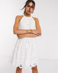 Vila mini dress with crotchet detail in white