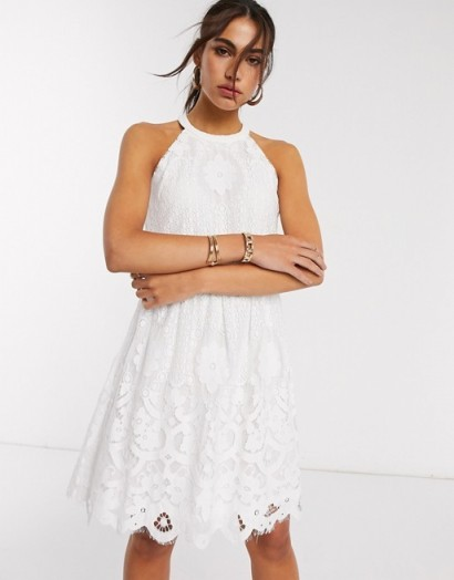 Vila mini dress with crotchet detail in white