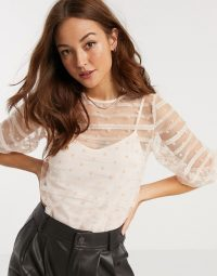 Vila sheer lace top in pink