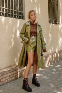 NASTY GAL Vinyl Countdown Belted Trench Coat in Olive