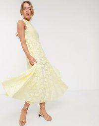 Warehouse sleeveless lace swing maxi dress in yellow