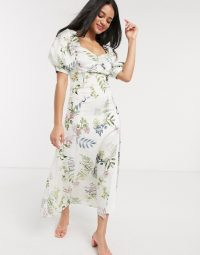 We Are Kindred eloise floral midi tea dress in ecru delphinium / Sweetheart neckline / puff sleeves