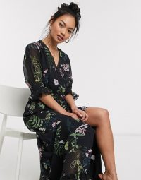 We Are Kindred frankie ruffled maxi dress in black delphinium