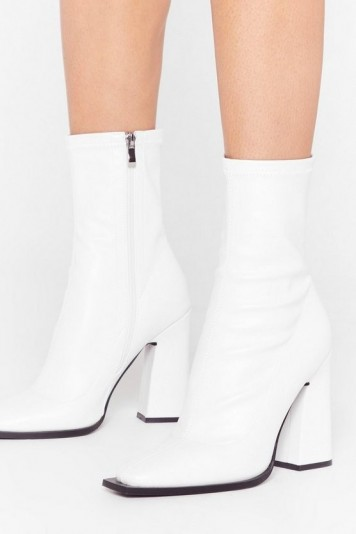 What Do You Flare Faux Leather Sock Boots White