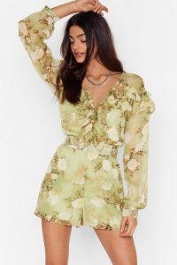 NASTY GAL When the Light's Grow Out Floral Playsuit Green