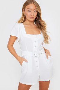 IN THE STYLE WHITE BELTED WOVEN PLAYSUIT – square neck summer playsuits
