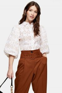Topshop White Embroidered Shirt