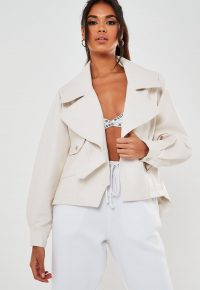 MISSGUIDED white faux leather balloon sleeve biker jacket