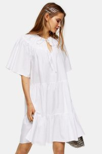 Topshop White Poplin Smock Mini Dress | tiered dresses