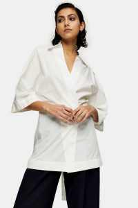 Topshop Boutique White Poplin Wrap Shirt