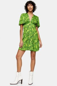Topshop Willow Green Floral Print Angel Sleeve Mini Dress / floaty spring dresses