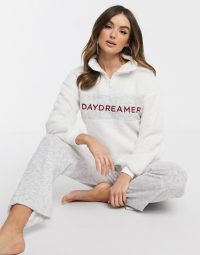 Women'secret Daydreamer borg fleece loungewear set in vanilla