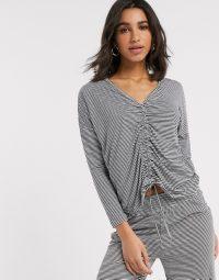 Women'secret knit ruched lounge set in grey stripe