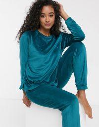 Women'secret velour pearl detail loungewear set in green ~ embellished lounge sets