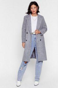 Wool You Be Mine Longline Faux Wool Coat in Grey