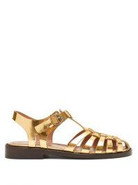 MARNI Woven metallic gold-leather sandals