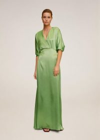 Mango Wrapped satin dress green REF. 67036306-MIRANDA-I-LM / maxi dresses