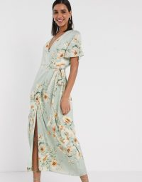 Y.A.S midi wrap dress with fluted sleeve in floral print