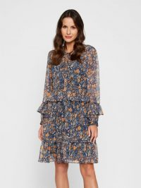 YAS PEPITAS MINI DRESS in Blue / Navy Blazer