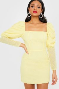 IN THE STYLE YELLOW DOBBY MESH PUFF SLEEVE DRESS – square neck going out dresses